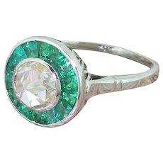 1.00 Carat Rose Cut Diamond & Emerald Target Cluster Ring, 18k White Gold
