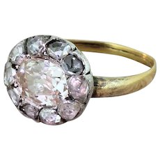 Victorian 1.19 Carat Old Cut & Rose Cut Diamond Cluster Ring, circa 1850