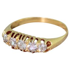 Art Deco 0.80 Carat Old Cut Diamond Five Stone Ring, circa 1920