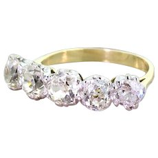 Edwardian 2.70 Carat Old Mine Cut Diamond Five Stone Ring, circa 1910