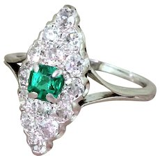 Art Deco Step Cut Emerald & Old Cut Diamond Navette Ring, French, circa 1925