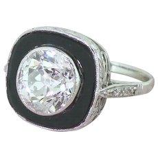 Art Deco 3.02 Carat Old Cut Diamond & Onyx Engagement Ring, French, circa 1930
