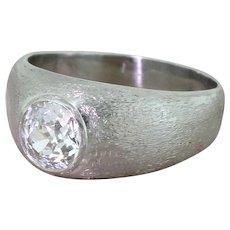 Art Deco 1.20 Carat Old Cut Diamond Platinum Solitaire Ring, circa 1935