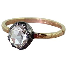 Early Victorian 0.90 Carat Rose Cut Diamond Solitaire Ring, circa 1850