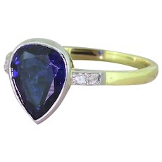 Art Deco 2.25 Carat Pear Cut Sapphire Solitaire Ring, circa 1920
