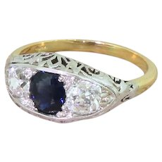 Edwardian 0.70 Carat Sapphire & 0.84 Carat Old Cut Diamond Trilogy Ring, circa 1910