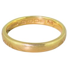 Art Deco 22k Yellow Gold Wedding Band, dated 1922