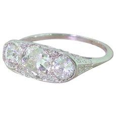 Art Deco 1.90 Carat Old Cut Diamond Trilogy Ring, circa 1925