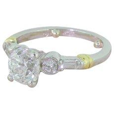 Art Deco 1.55 Carat Old Cut Diamond Engagement Ring, circa 1940