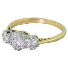 Mid Century 1.05 Carat Transitional Cut Diamond Trilogy Ring, circa 1950