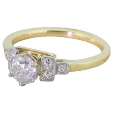 Art Deco 0.77 Carat Old Cut Diamond Engagement Ring, circa 1930