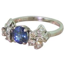 Art Deco 0.83 Carat Sapphire & Diamond Ring, circa 1930