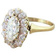 Art Deco 2.20 Carat Marquise Diamond Cluster Ring, circa 1920