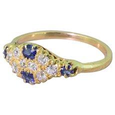 Edwardian Old Cut Diamond & Sapphire Cluster Ring, circa 1905