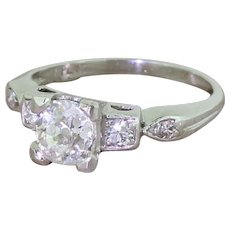 Art Deco 0.92 Carat Old Cut Diamond Engagement Ring, circa 1935