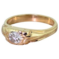 Victorian 0.50 Carat Old Cut Diamond Rose Gold Solitaire Ring, circa 1900