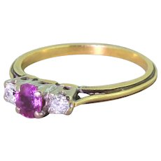 Late 20th Century Pink Sapphire & Diamond Trilogy Ring, circa 1975