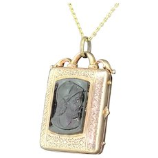 Victorian Carved Whitby Jet & Gold Roman Revival Locket, circa 1880