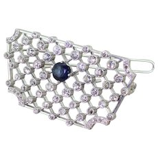 Art Deco Old Cut Diamond & Sapphire Lattice Brooch, circa 1925