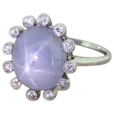 Edwardian 12.00 Carat Star Sapphire & Old Cut Diamond Ring, circa 1910