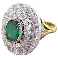 Retro 1.80 Carat Emerald & Rose Cut Diamond Cocktail Ring, circa 1945