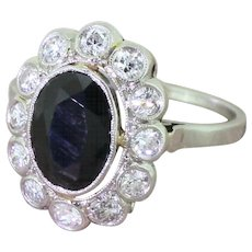 Mid Century 2.00 Carat Sapphire & Diamond Cluster Ring, French, circa 1950