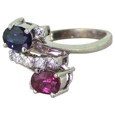 Avant Garde Ruby, Sapphire & Diamond Crossover Ring, circa 1975