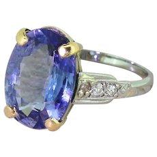 Edwardian 3.50 Carat Natural Sapphire Solitaire Ring, circa 1910