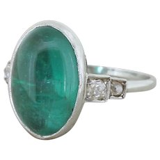 Edwardian 6.57 Carat Cabochon Emerald Solitaire Ring, circa 1910