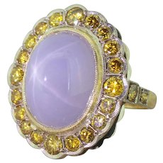 Mid Century 15.10 Carat Lilac Star Sapphire & Fancy Yellow Diamond Cluster Ring, circa 1960