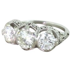 Art Deco 1.98 Carat Transitional Cut Diamond Trilogy Ring, circa 1925