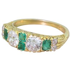 Edwardian 1.85 Carat Old Cut Diamond & Emerald Half Hoop Ring, circa 1905