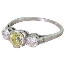 Art Deco 1.32 Carat Fancy Greenish Yellow & White Old Cut Diamond Trilogy Ring, circa 1935