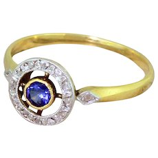 Art Deco Sapphire & Rose Cut Diamond Target Ring, French, circa 1925