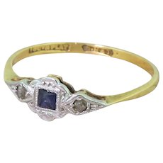 Art Deco French Cut Sapphire & Rose Cut Diamond Ring, circa 1920