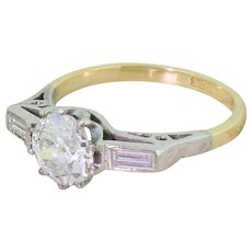 Art Deco 1.17 Carat Old Cut Diamond Engagement Ring, circa 1925