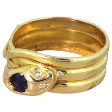 Victorian Sapphire & Diamond Snake Ring, dated 1888
