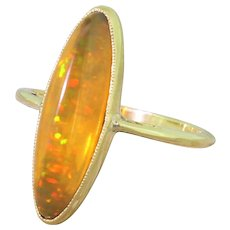Victorian Marquise Fire Opal Ring, circa 1900