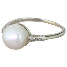 Art Deco Natural Saltwater Pearl Solitaire Ring, circa 1935