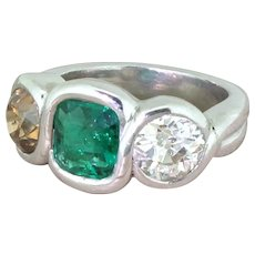 Retro Emerald, Fancy Orange & White Old Cut Diamond Three Stone Ring, circa 1945