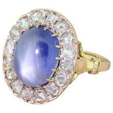 Art Deco 10.45 Carat Star Sapphire & Rose Cut Diamond Ring, French, circa 1915