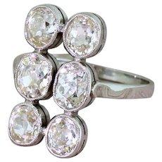 Art Deco 2.75 Carat Old Cut Diamond Six Stone Ring, circa 1920
