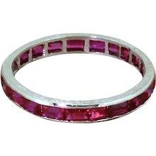 Mid Century Baguette Cut Ruby Full Eternity Ring, circa 1950