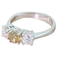 1.99 Carat Fancy Orangey Brown & White Old Cut Diamond Trilogy Ring, 18k White Gold
