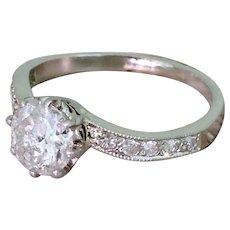 """Mid Century 0.88 Carat Round Brilliant Cut Diamond """"Curve"""" Ring, circa 1960"""