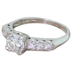 Art Deco 0.98 Carat Old Cut Diamond Engagement Ring, circa 1925