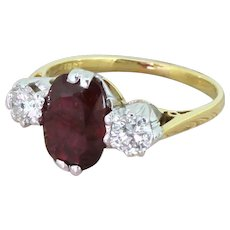 Mid Century 2.13 Carat Ruby & 0.50 Carat Diamond Trilogy Ring, dated 1971