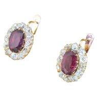 Victorian 2.91 Carat Ruby & 2.18 Carat Old Cut Diamond Cluster Earrings, circa 1900