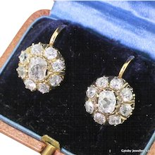 Victorian 2.92 Carat Old Cut Diamond Cluster Earrings, circa 1880