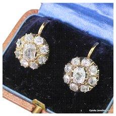 Victorian 2.92 Carat Old Cut Diamond Cluster Earrings, circa 1880